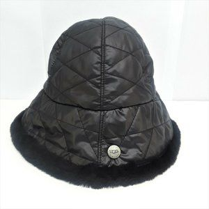 Ugg Australia Black Fur Bucket Hat Sheepskin Quilt